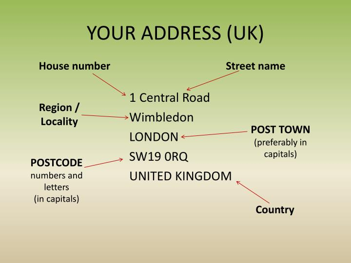 YOUR ADDRESS (UK)