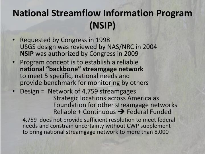 National Streamflow Information Program (NSIP)