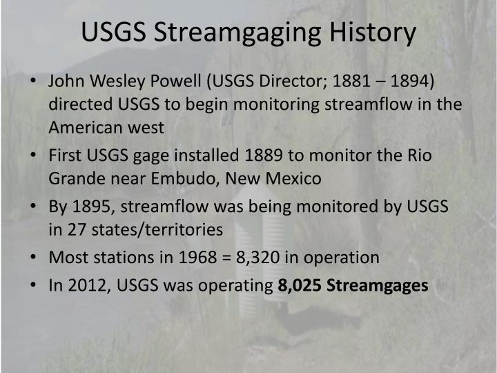 USGS Streamgaging History