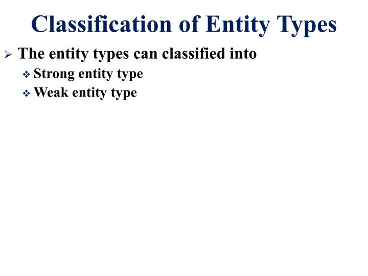 Classification of Entity Types