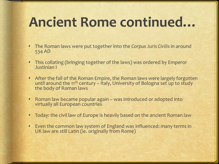 Ancient Rome continued…
