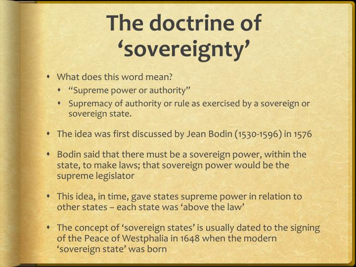 The doctrine of 'sovereignty'