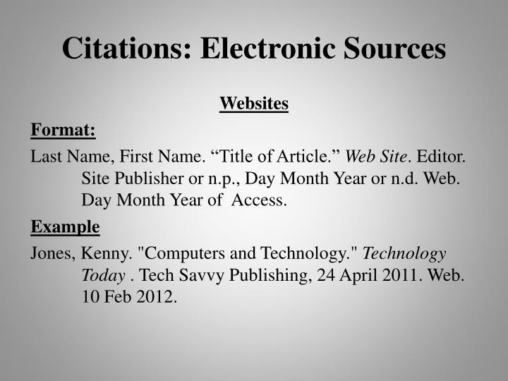 Citations: Electronic Sources
