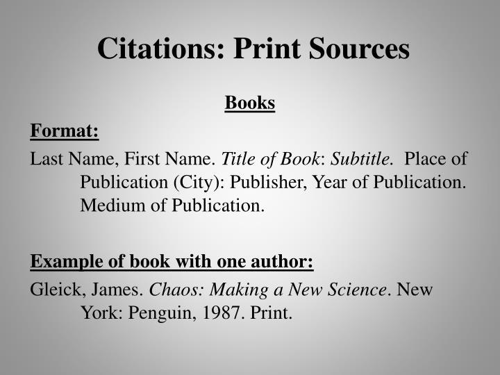Citations: Print Sources