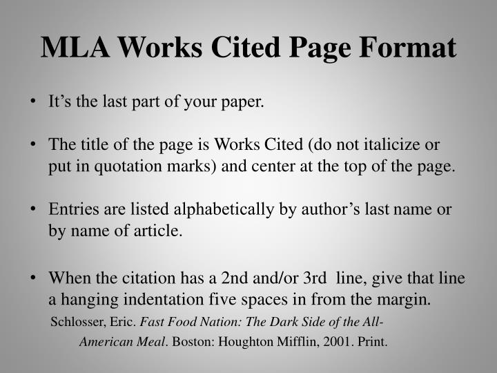 MLA Works Cited Page Format
