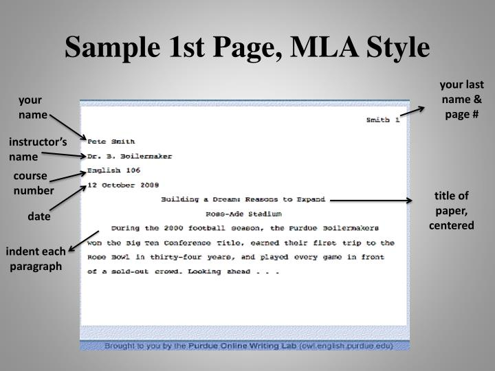 Sample 1st Page, MLA Style