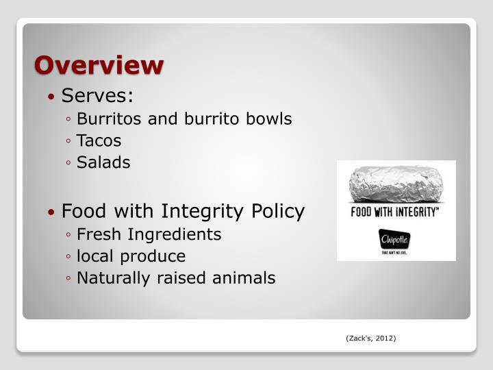 mba733 chipotle presentation Chipotle is known for its ability to offer products made from sustainable, organic ingredients, while remaining price competitive with other fast food chains.