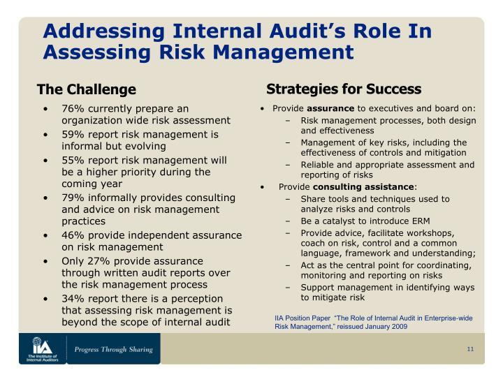 Addressing Internal Audit's Role In Assessing Risk Management