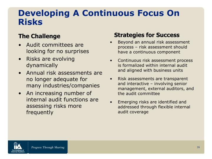 Developing A Continuous Focus On Risks