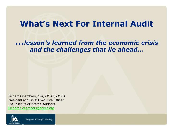 What's Next For Internal Audit