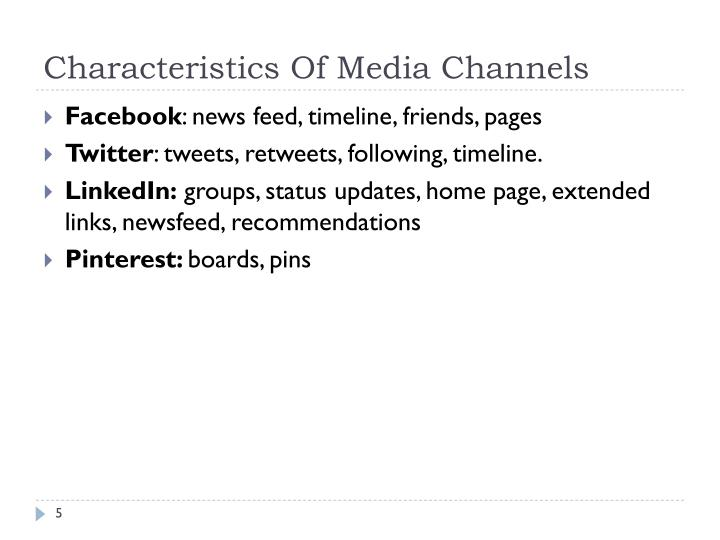 Characteristics Of Media Channels