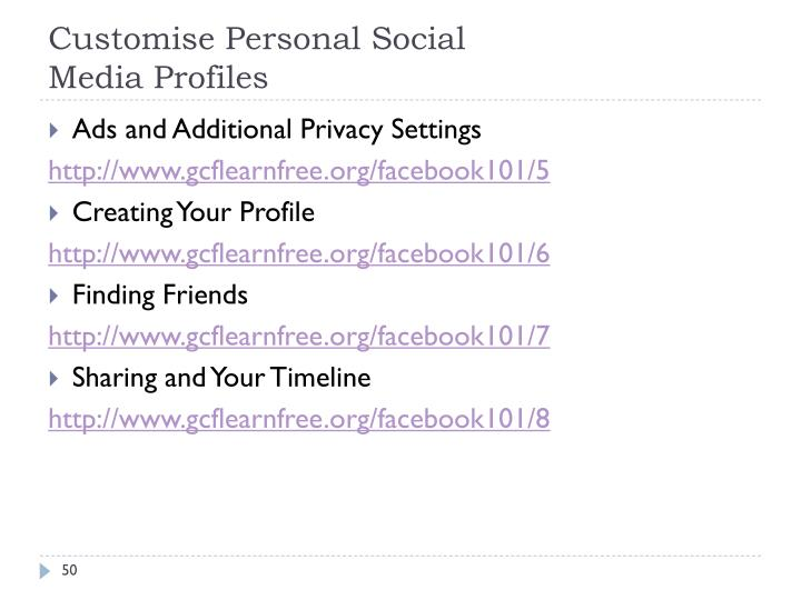 Customise Personal Social