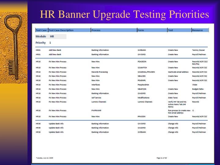 HR Banner Upgrade Testing Priorities