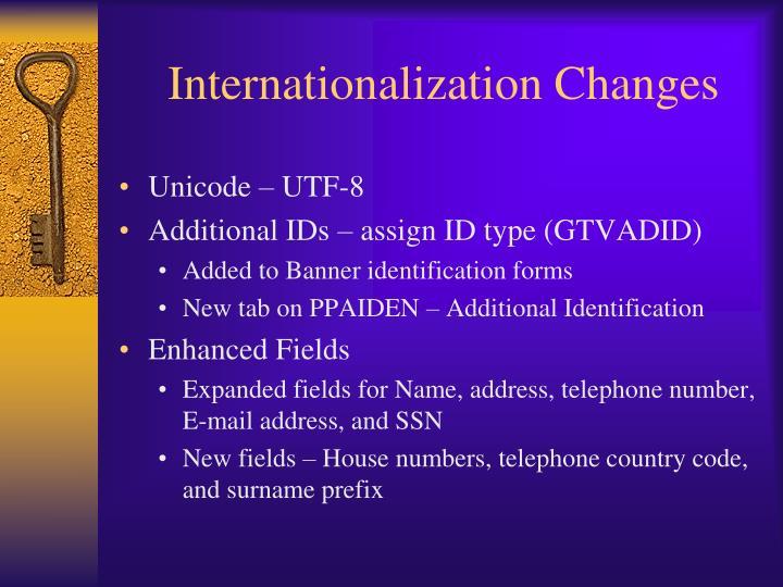Internationalization Changes