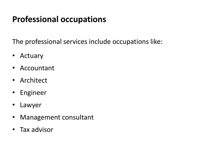 Professional occupations
