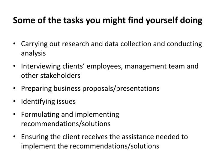 Some of the tasks you might find yourself doing