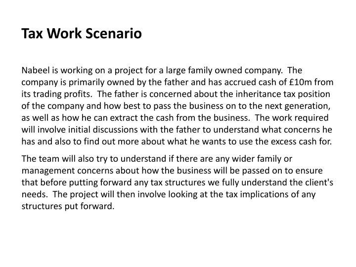 Tax Work Scenario