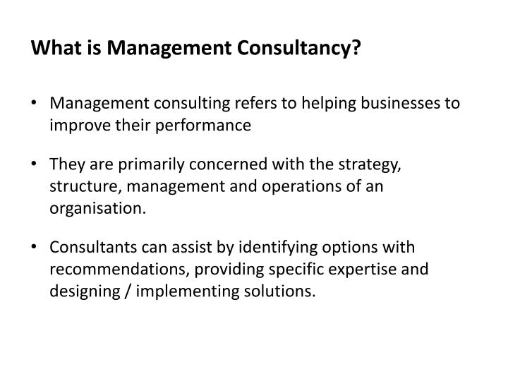 What is Management Consultancy?