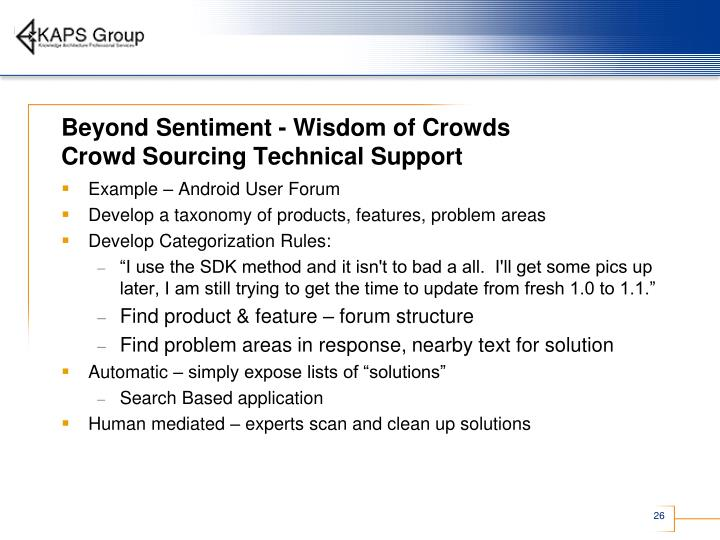 Beyond Sentiment - Wisdom of Crowds