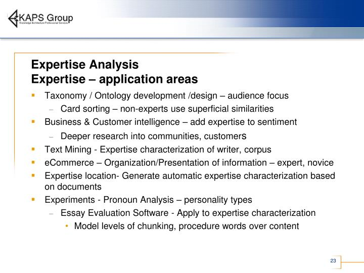 Expertise Analysis
