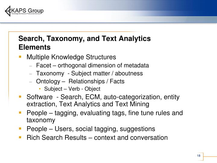 Search, Taxonomy, and Text Analytics