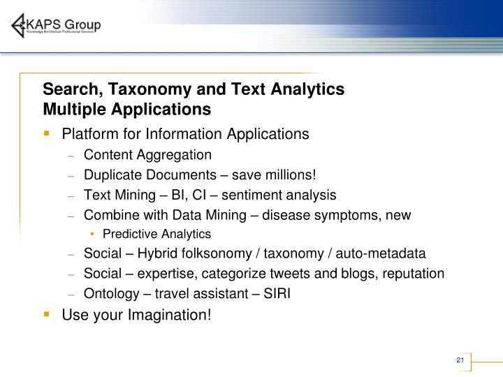 Search, Taxonomy and Text Analytics