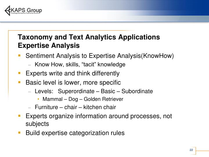 Taxonomy and Text Analytics Applications