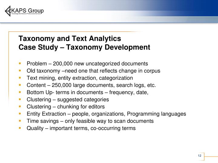 Taxonomy and Text Analytics