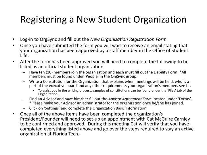 Registering a New Student Organization