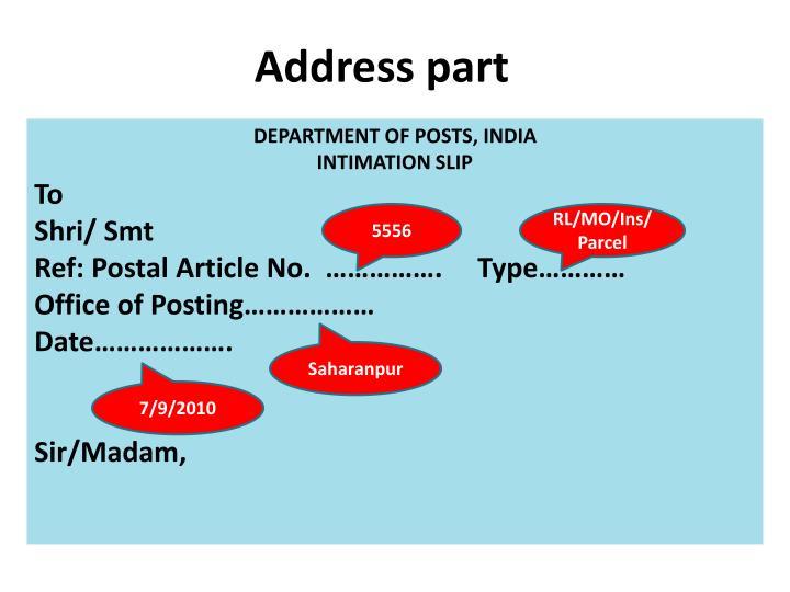 Address part