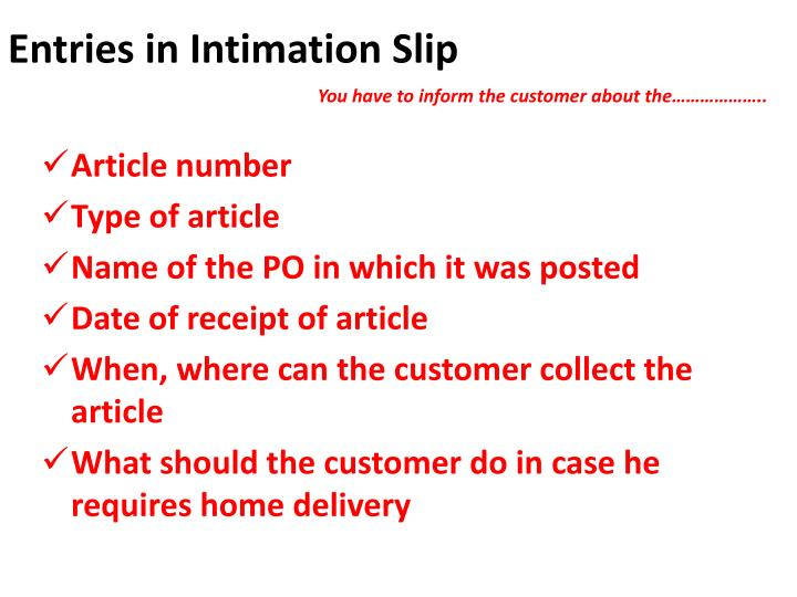 Entries in Intimation Slip