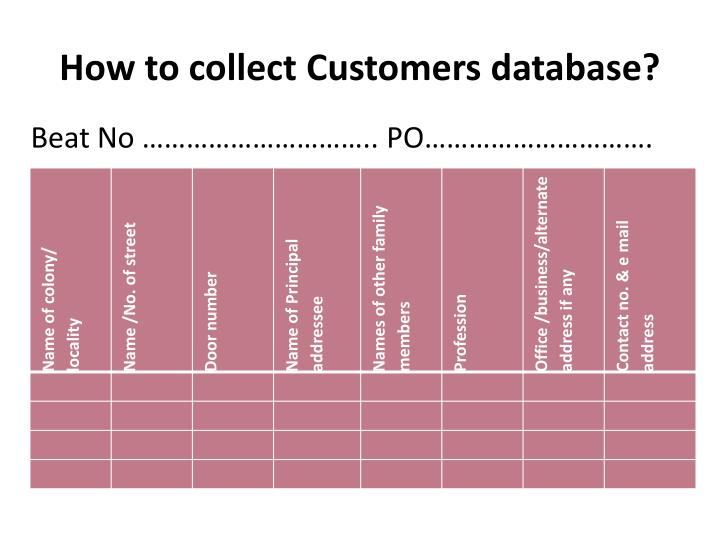 How to collect Customers database?