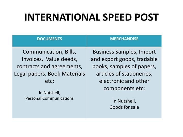 INTERNATIONAL SPEED POST