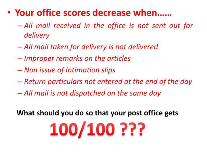 Your office scores decrease when……