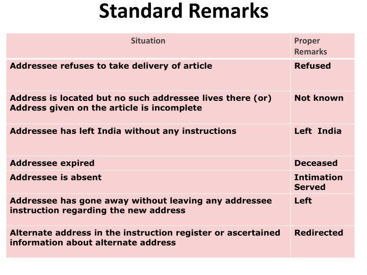 Standard Remarks
