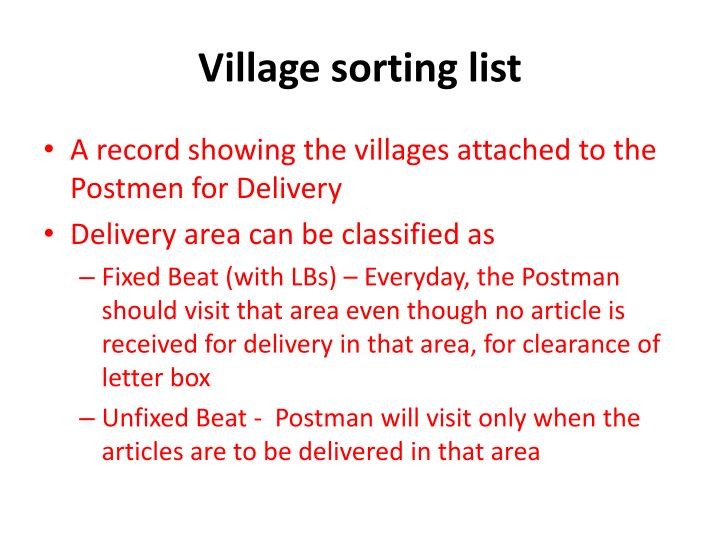 Village sorting list