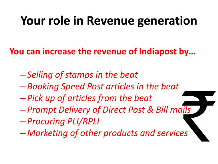 Your role in Revenue generation