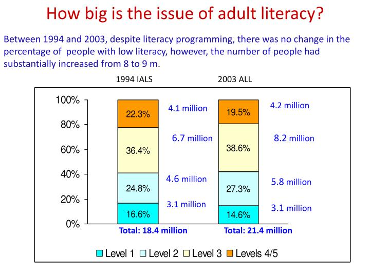 How big is the issue of adult literacy?