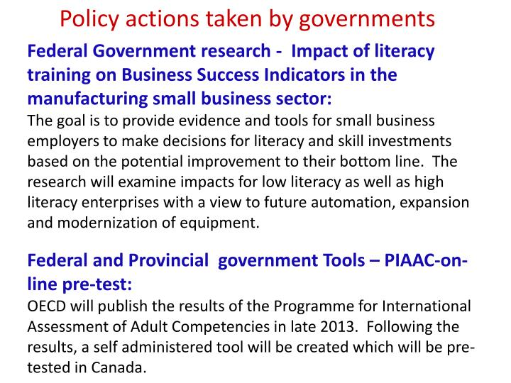 Policy actions taken by governments
