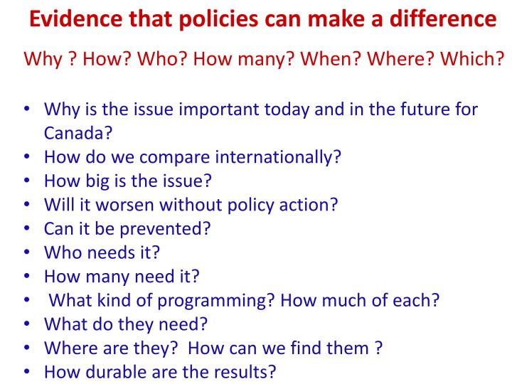 Evidence that policies can make a difference