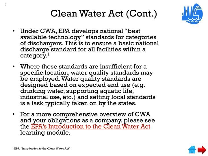 Clean Water Act (Cont.)