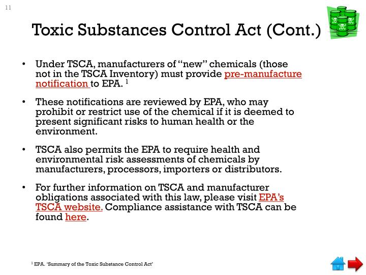 Toxic Substances Control Act (Cont.)