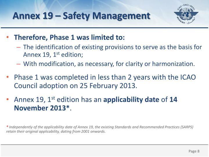 Annex 19 –