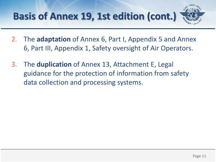 Basis of Annex 19, 1st