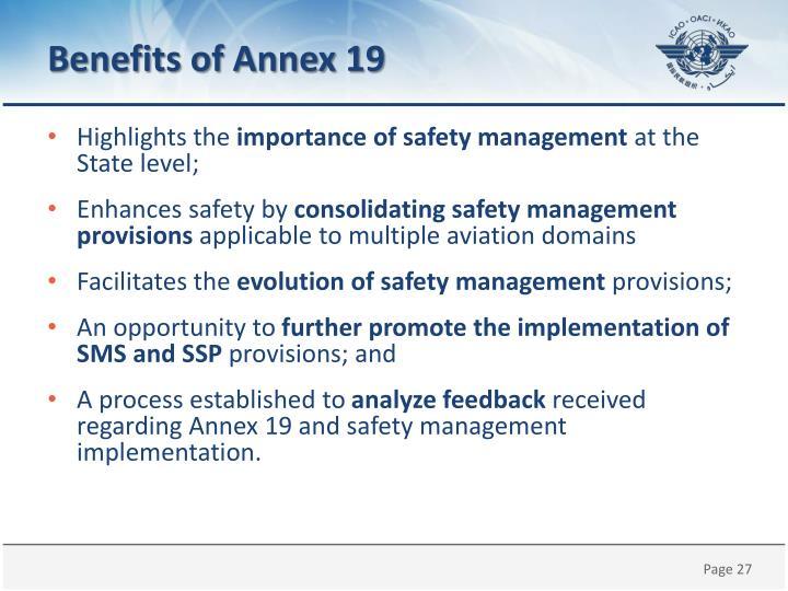 Benefits of Annex 19