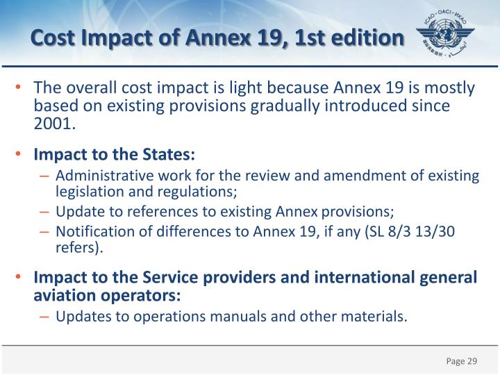 Cost Impact of Annex 19,
