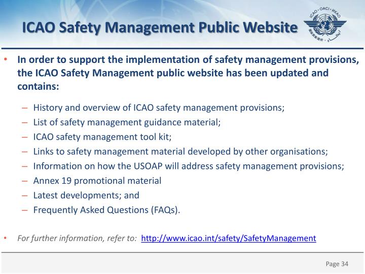 ICAO Safety Management Public Website