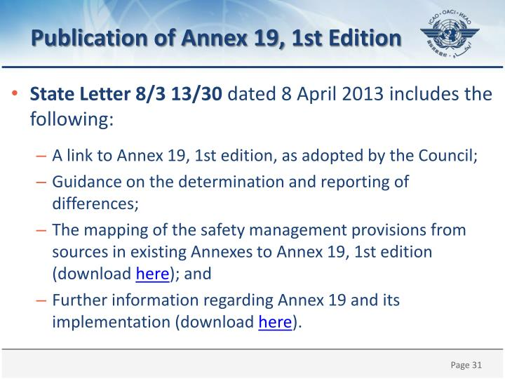 Publication of Annex 19,