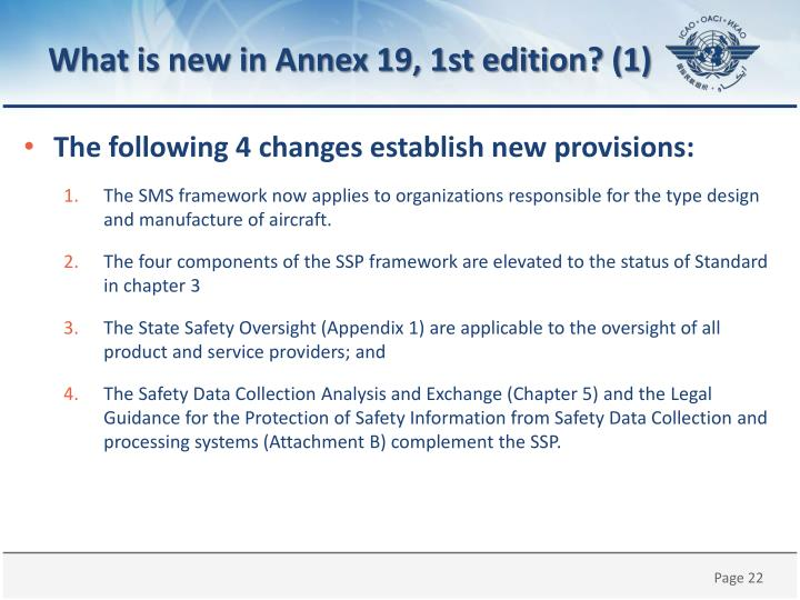 What is new in Annex 19, 1st edition? (1)