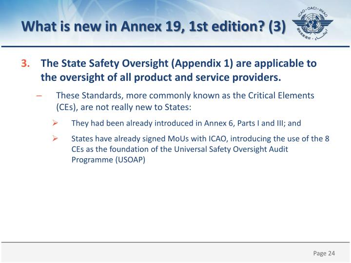 What is new in Annex 19, 1st edition?